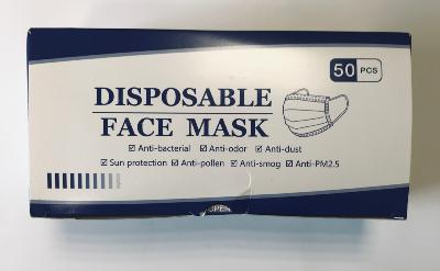 Lot de 50 masques jetables 3 plis non tissés